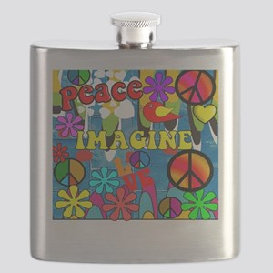 Retro Peace Symbols Flask