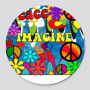 Retro Peace Symbols Round Car Magnet