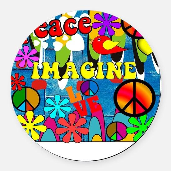 Retro Peace Symbols Round Car Magnet