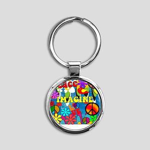 Retro Peace Symbols Round Keychain
