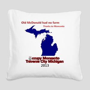 Occupy Monsanto Traverse City Square Canvas Pillow