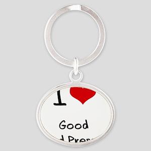 I Love Good Blood Pressure Oval Keychain