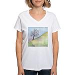 California Tree Watercolor Women's V-Neck T-Shirt