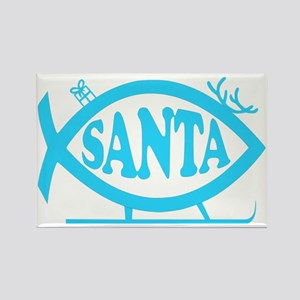 Santa Fish Baby Blue Rectangle Magnet