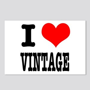 I Heart (Love) Vintage Postcards (Package of 8)