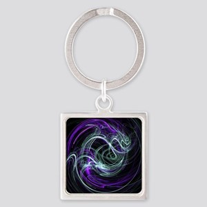 Light Within, Abstract Swirls Square Keychain