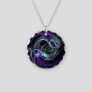 Light Within, Abstract Swirl Necklace Circle Charm