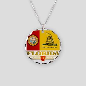 Florida Gadsden Flag Necklace Circle Charm