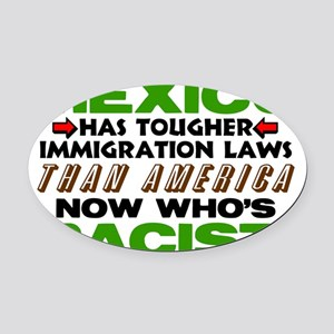 Now Whos Racist! Oval Car Magnet