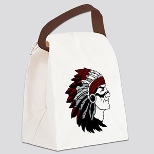 Native American Chief with Red He Canvas Lunch Bag