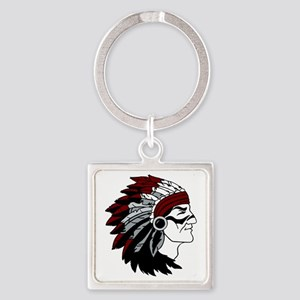 Native American Chief with Red Hea Square Keychain