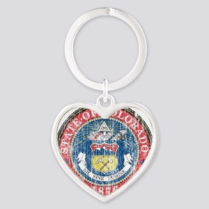 Aged Colorado Seal Heart Keychain