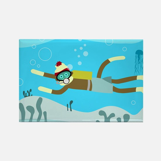 Sock Monkey Scuba Diver Rectangle Magnet