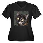 Dark Tort Women's Plus Size V-Neck Dark T-Shirt