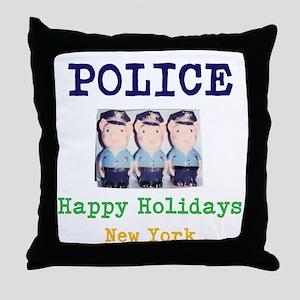 POLICE HAPPY HOLIDAYS, NEW YORK. Throw Pillow