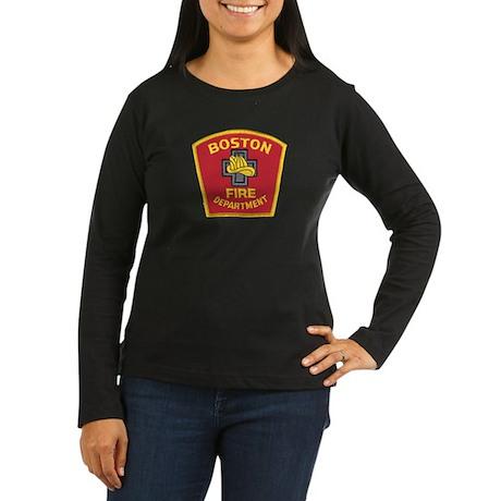 Boston Fire Department Women's Long Sleeve Dark T-