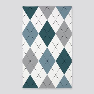 Blue and White argyle 3'x5' Area Rug