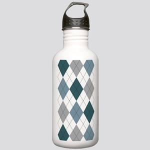 Blue and White argyle Stainless Water Bottle 1.0L