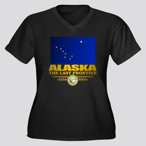 Alaska Pride Women's Plus Size Dark V-Neck T-Shirt
