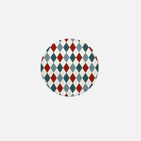 Red Blue and White Argyle Mini Button