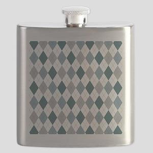Blue Gray Argyle Flask