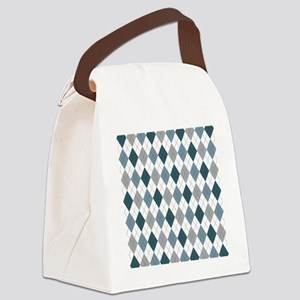 Blue Gray Argyle Canvas Lunch Bag