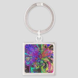 Glowing Burst of Color Deva Square Keychain