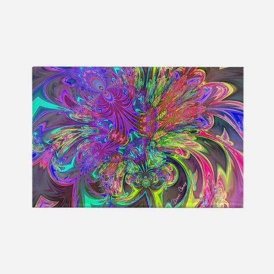 Glowing Burst of Color Deva Rectangle Magnet