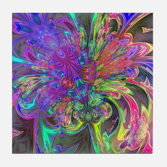 Glowing Burst of Color Deva Tile Coaster