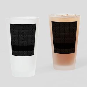 Black Mosaic Tile Pattern Drinking Glass