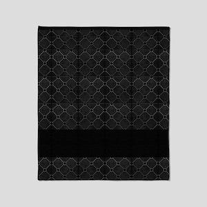 Black Mosaic Tile Pattern Throw Blanket