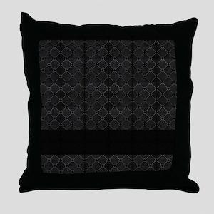 Black Mosaic Tile Pattern Throw Pillow