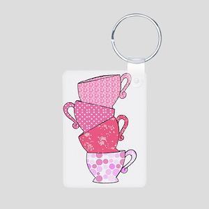 Pink Pattern Stacked Tea C Aluminum Photo Keychain