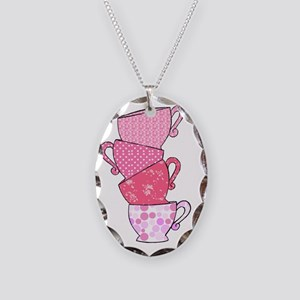 Pink Pattern Stacked Tea Cups Necklace Oval Charm