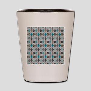 Blue Gray Argyle Shot Glass