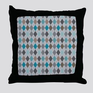 Blue Gray Argyle Throw Pillow
