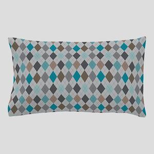 Blue Gray Argyle Pillow Case