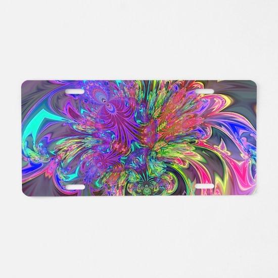 Glowing Burst of Color Deva Aluminum License Plate