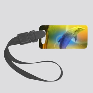 Colorful Dolphin Small Luggage Tag