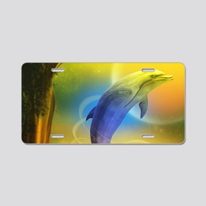 Colorful Dolphin Aluminum License Plate