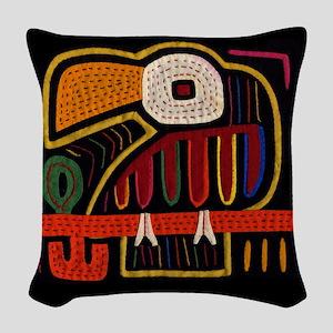 Indigenous Panama Bird Art Woven Throw Pillow