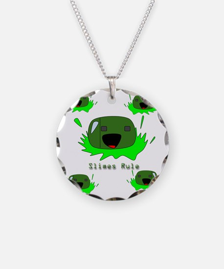 Slimes Green Blobs Cute Mons Necklace Circle Charm