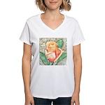 Peach Rose Watercolor Women's V-Neck T-Shirt