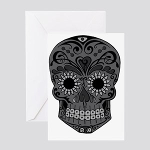 Black And Grey Sugar Skull Greeting Card