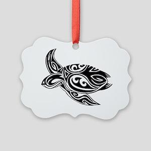 Tribal Turtle Picture Ornament