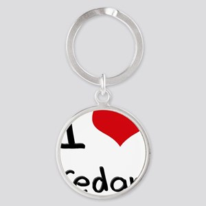 I love Cedar Round Keychain