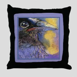 Crow Raven Bird Portrait Throw Pillow