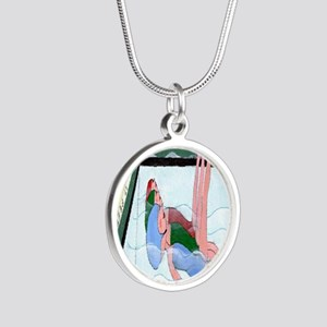 Synchronized Swimming Silver Round Necklace