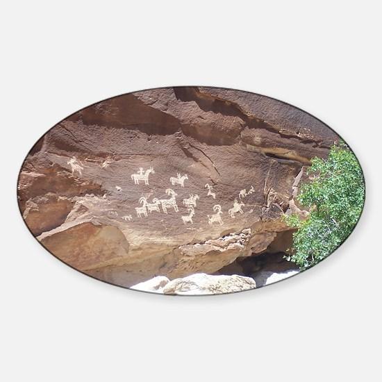 Native American Indian Rock Art - P Sticker (Oval)