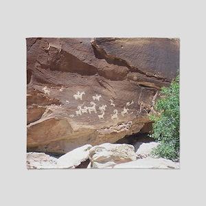 Native American Indian Rock Art - Pe Throw Blanket